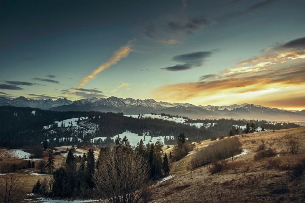Public Domain Images - Mountain Snow Peak Evening Sunset Clouds Valley