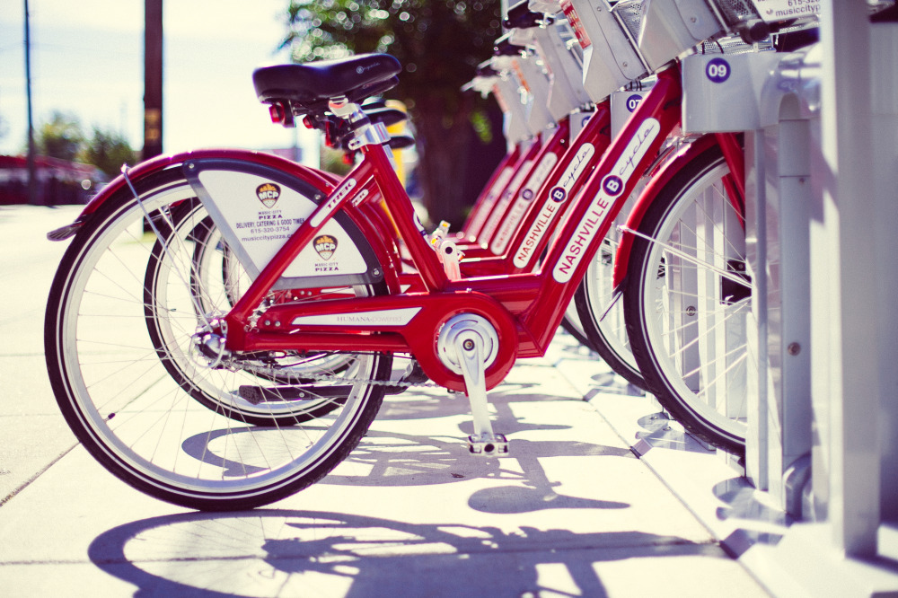 Public Domain Images � Red Bike Public Transportation Shadows Nashville Tennessee