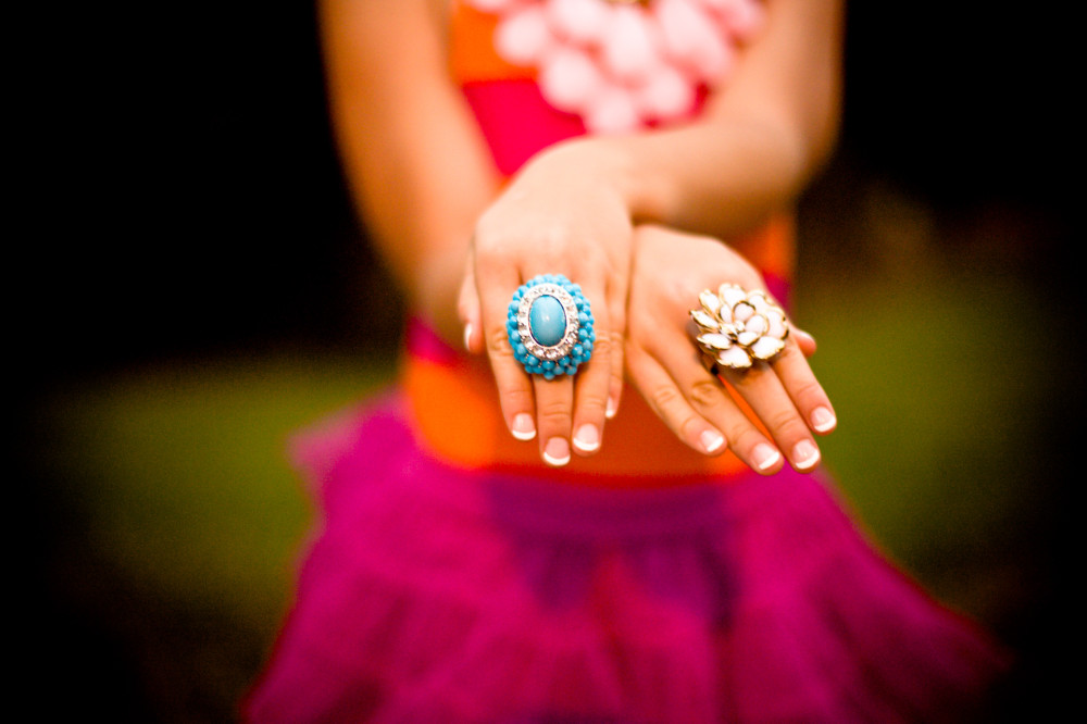 Public Domain Images - Girl Tutu Pink Orange Turquoise Rings Hands