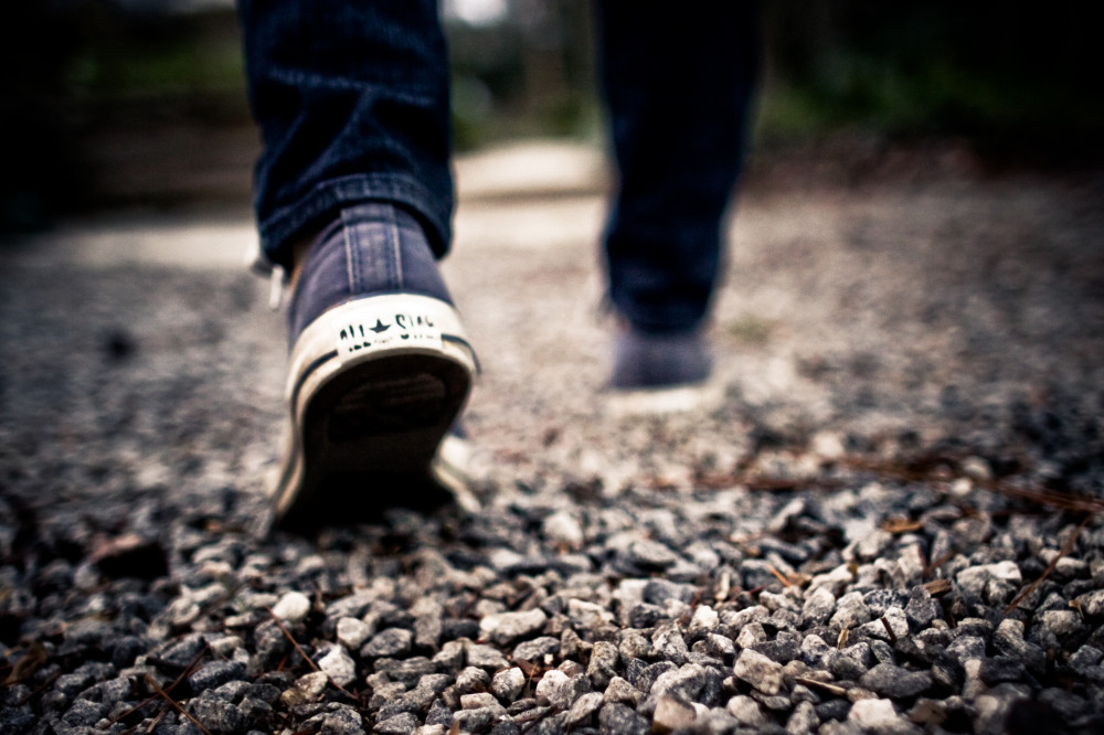 Public Domain Images - Shoes Walking Feet Grey Gravel Blue Jeans