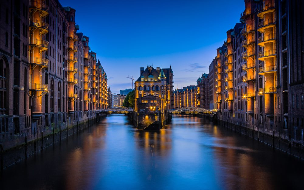 Hamburg Germany Canal Night Time Romantic Sunset